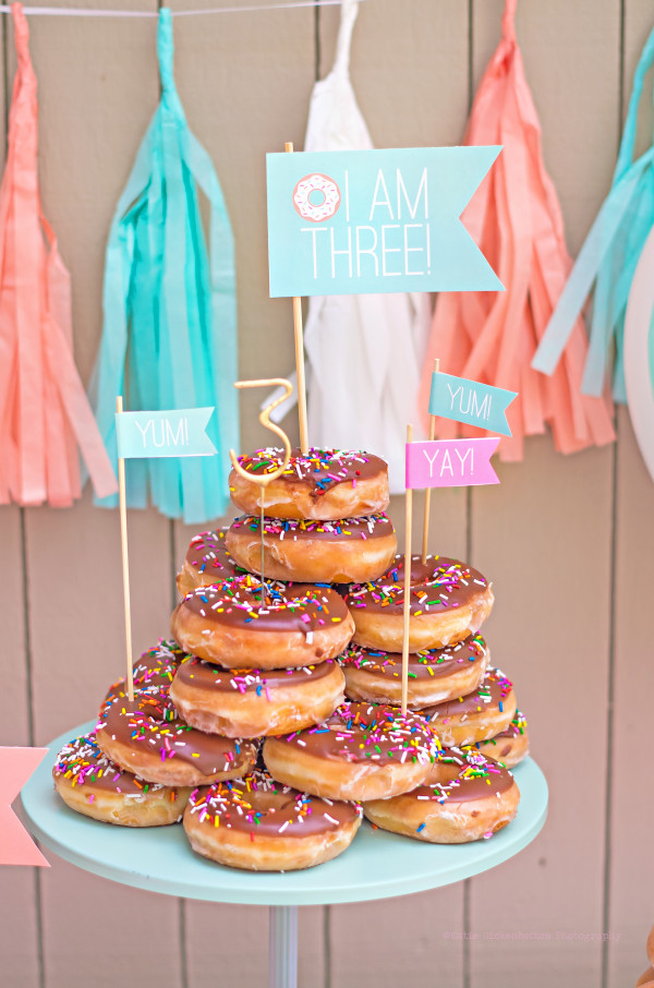 Who needs a cake? Using a whole bunch of donuts we created a donut cake. We topped it off with some adorable custom flags and a sparkler candle!